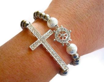Rhinestone Nautical Rudder Stardust Hematite Beaded Stretch Bracelet