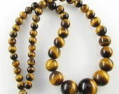 "One 15.5"" strand Golden Tiger Eye graduated round gemstone beads 6-13.5mm ET149"