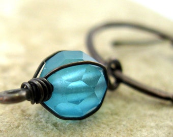 Copper Circle Wire Wrapped Turquoise Aqua Glass Bead Earring