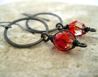 Sparkly Hammered Copper Circle Drop Earrings - Red & Clear Faceted Glass Bead