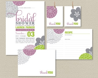 Printable Bridal Shower Invitation, Recipe Card, Thank You Card, Favor Tags, Floral Invite, Lime & Mauve Invite (PP10)