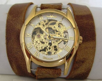 Stylish Retro Leather Band Manual-Winding Mechanical Skelton Gold Watch  FREE SHIPPING