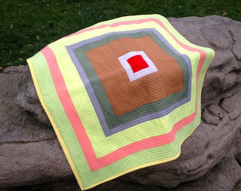 Baby Quilt Blanket or Sofa Throw in a Geometric Pattern and Contemporary Spring Colours