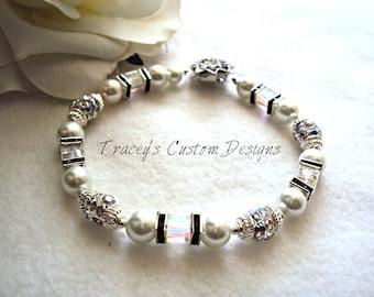 "The ""Black Beauty""  Bridal Bracelet - Customize it for free"