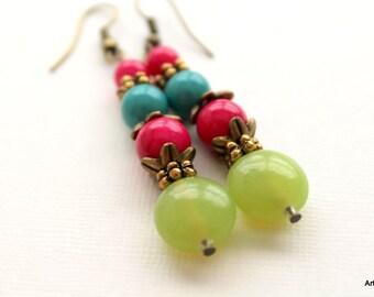Peridot ,Blue and Fuchsia gelato earrings