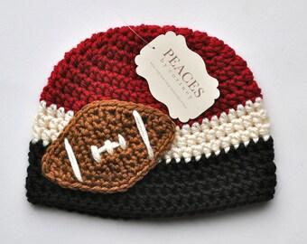 Football Beanie - Black, White & Red Baby Football Hat ( newborn gift preemie hat newborn costume babyshower newborn beanie baby hats )