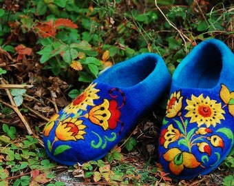 Felted Slippers- Sun flowers MADE TO ORDER
