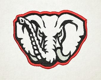 Alabama Elephant Applique Embroidery Design (6) Instant Download