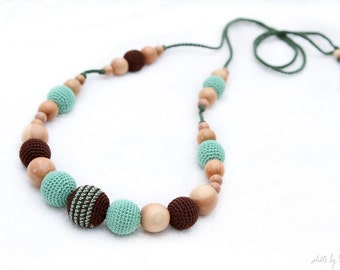 Nursing necklace Pistachio green and Brown Juniper mom Nursing necklace - breastfeeding/teething toy. crochet sling necklace.