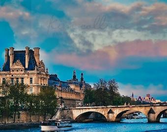 Blue Skies at the Louvre,Fine Art Photography,Paris,France,multiple sizes available,Blue,Bridge,architecture,landscape,Paris,Seine