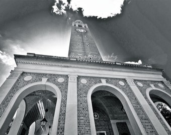 Morehead-Patterson Bell Tower 2 UNC Black & White -Chapel Hill, North Carolina Multiple Sizes Available-Fine Art-Landmark,Tarheels,UNC