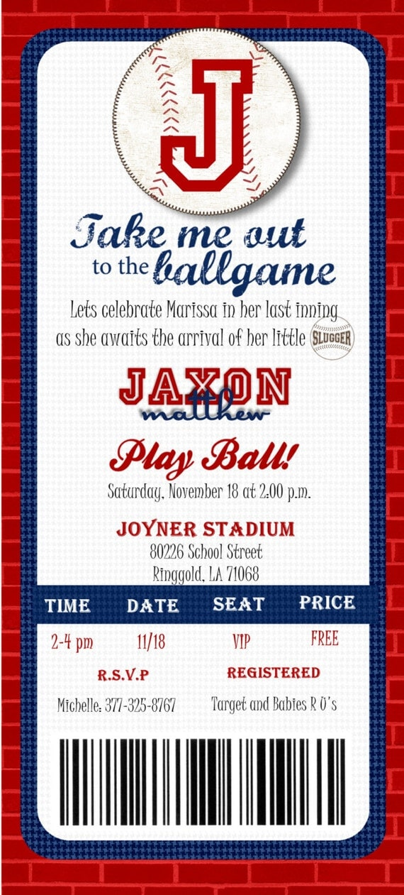 custom printed baseball ticket shower or by joyinvitations