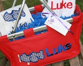 Personalized Mini Market Tote Boys Red Blue Airplane Baby Shower Basket Monogrammed