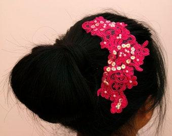 Wedding/Bridesmaid headband/head piece - Fuscia