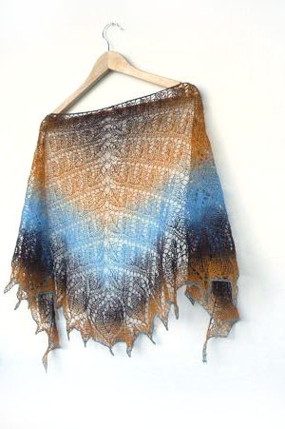 Hand knit shawl, wool shawl, brown,blue, orange, Autumn colors