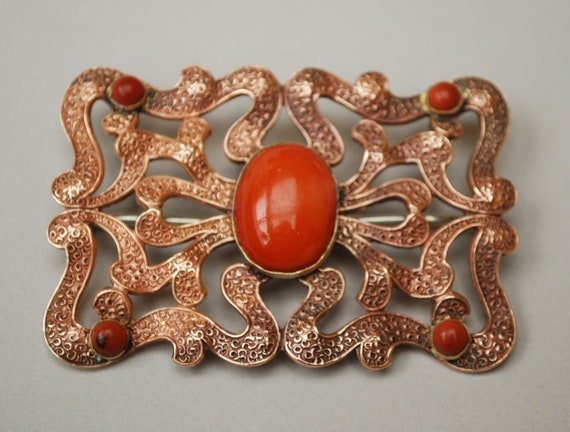 Vintage copper and orange cabochon brooch