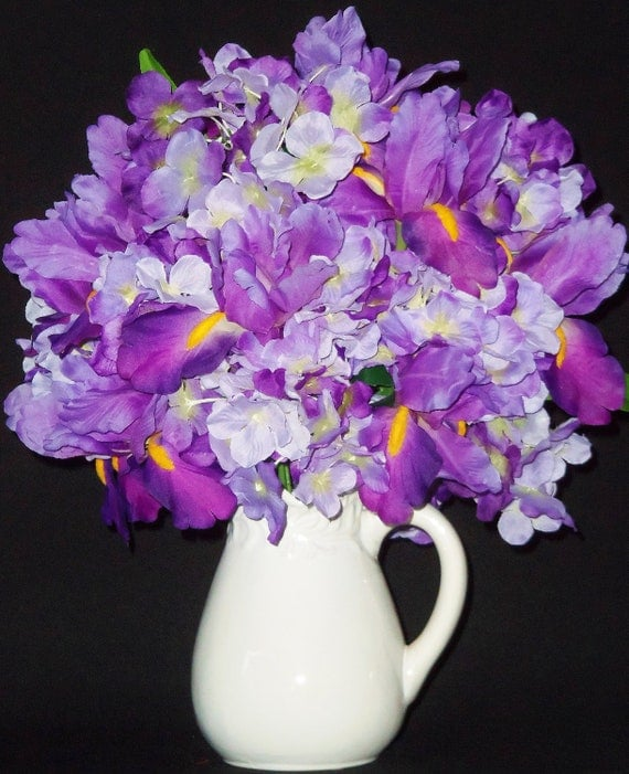 Silk Flower Arrangement Purple Iris Purple \u0026 Lavender