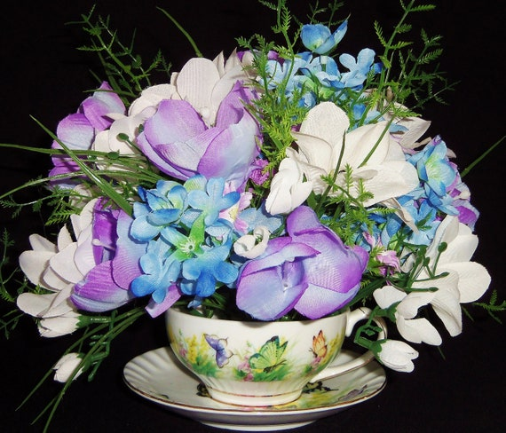 Teacup Flower Arrangement, Lavender Crocus & White Freesia, Silk Flowers, Spring Floral Arrangement  Artificial Flowers,