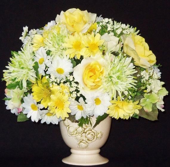 Silk Flower Arrangement Yellow Roses White Amp Yellow Daisies