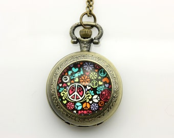 Necklace Pocket watch Peace and love