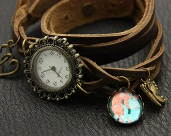 bracelet Brown leather strap two fox in love