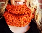 Chunky Thanksgiving PUMPKIN orange scarf cowl, thick neck warmer, pumpkin orange, womens cowl, warm Thanksgiving gift, gift guide 2013