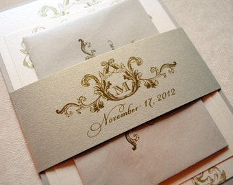 Wedding Invitations, Ivory Wedding Invitation, Vintage Wedding Invitations, Elegant Wedding Invitation, Wedding Invitations