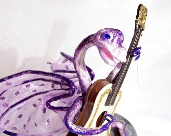 Dragon Musician Art Doll: Karen, Dragon Guitarist - Pretty in Purple