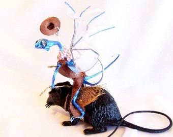 Cowboy Blue Dragon Art Doll: Tex the Bull Rat Rider