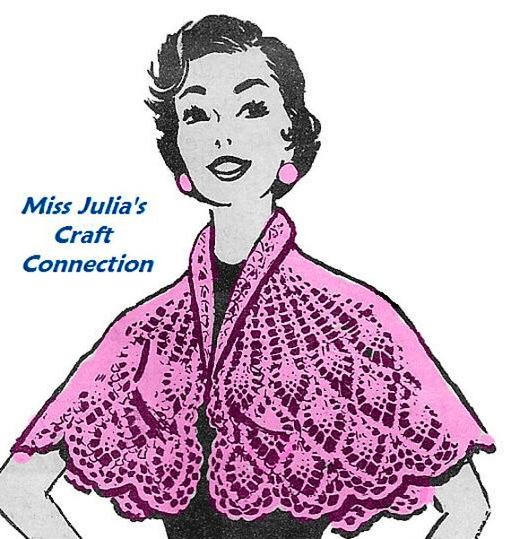 Vintage Lace Pineapple & Shell Design Cape 373 PDF Digital Crochet Pattern