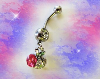 SALE---Belly Ring, Silver Sterling Heart with Pink Crystal Rhinestones, Belly Button Jewelry, For Her 1B141
