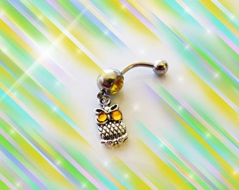 SALE-Belly Ring, Popular Antique Silver Mini Baby Owl with Crystal Gold Eyes, Belly Button Navel Ring, For Her 1A122