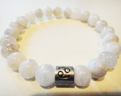 Cancer Zodiac healing crystal womens energy bracelet: Moonstone, glyph, Astrology, metaphysical, New Age, Zen, yoga inspired