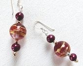 Venetian Glass Dangle Earrings Gold Foil Rose Purple Pearl Sterling Silver Wires Handmade