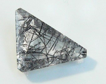 Black Ritulated Quartz - Triangle Shape - Venus Hairstone - Black Rutile
