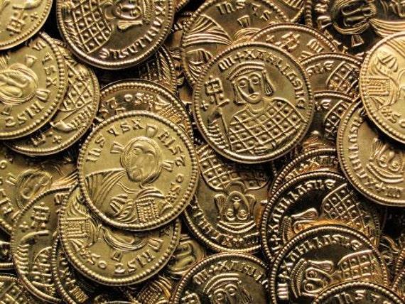 Byzantine Michael III Solidus 842-867 AD brass replica coin