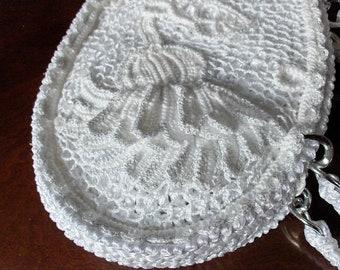 Jule - a White Irish Crochet Lace Handbag
