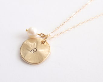 PERSONALIZED INITIAL Coin with 14K gold filled chain-simple everyday jewelry