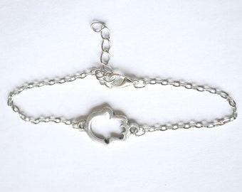 Silver Hamsa Bracelet - silver plated chain bracelet with a silver plated hamsa charm. Judaica bracelet, elegant delicate bracelet
