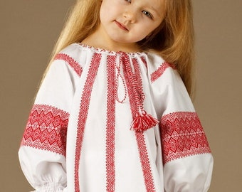Price reduced! Ukrainian embroidered blouse. Girls blouses vyshyvanka. Ukrainian blouse for girls blue embroidery for baby ukrainian clothes