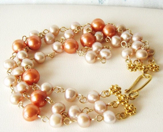 Multistrand pearl bracelet, pink & copper pearls, gemstone jewellery OOAK