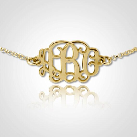 Monogram Bracelet Personalized Monogram Bracelet in 18kt Gold Plated Sterling Silver