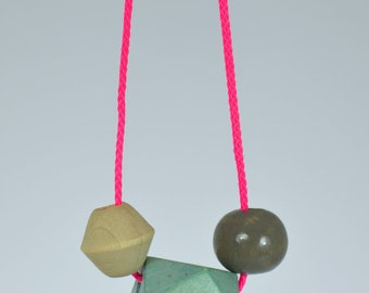NEON TRIBE - Faceted wood bead and neon pink cord necklace
