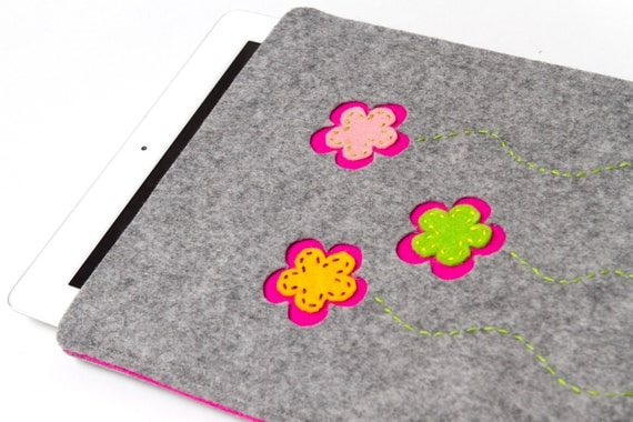 iPad case or cover in natural grey felt with flower design GARDEN