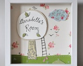 Kids room - personalized art - floral, whimsical - tree house