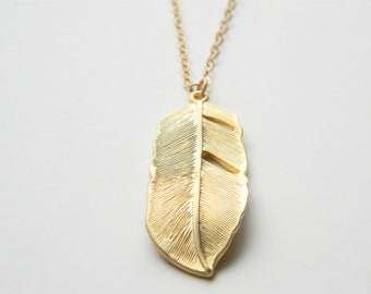 """Gold Necklace - Feather Necklace - Long Necklace - 24"""" - Matte Gold Feather Pendant on Matte Gold Chain"""