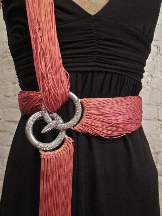 20s Accessory...Belt, Sash...Fringey Pink Fabric and Rhinestone Buckle