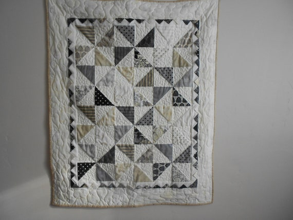 SALE.......ready to ship,......... Moda's Little Black Dress Pinwheel Baby Quilt