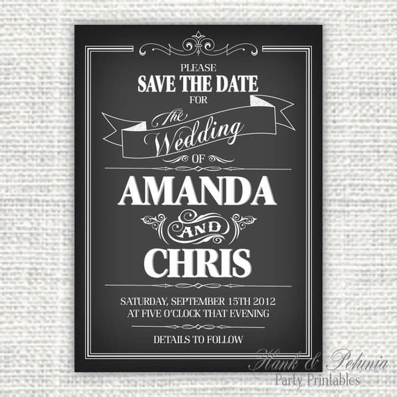 Diy Chalkboard Wedding Invitations: Items Similar To Printable DIY Chalkboard Save The Date Or
