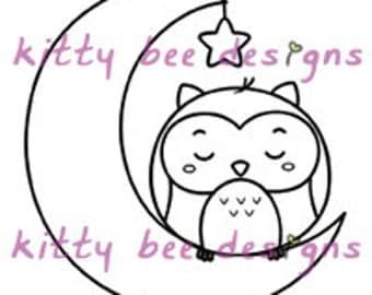 """Kawaii """"Good Night"""" Owl Digi Stamp"""
